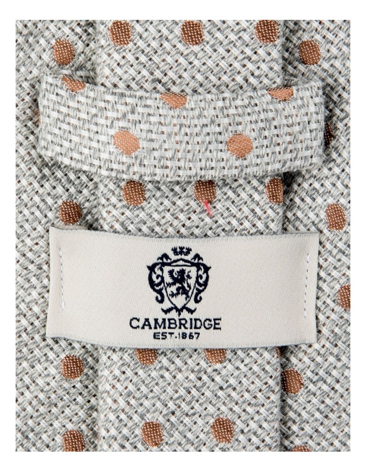 Woven Polkadot Cotton/Silk Tie-Taupe image 2
