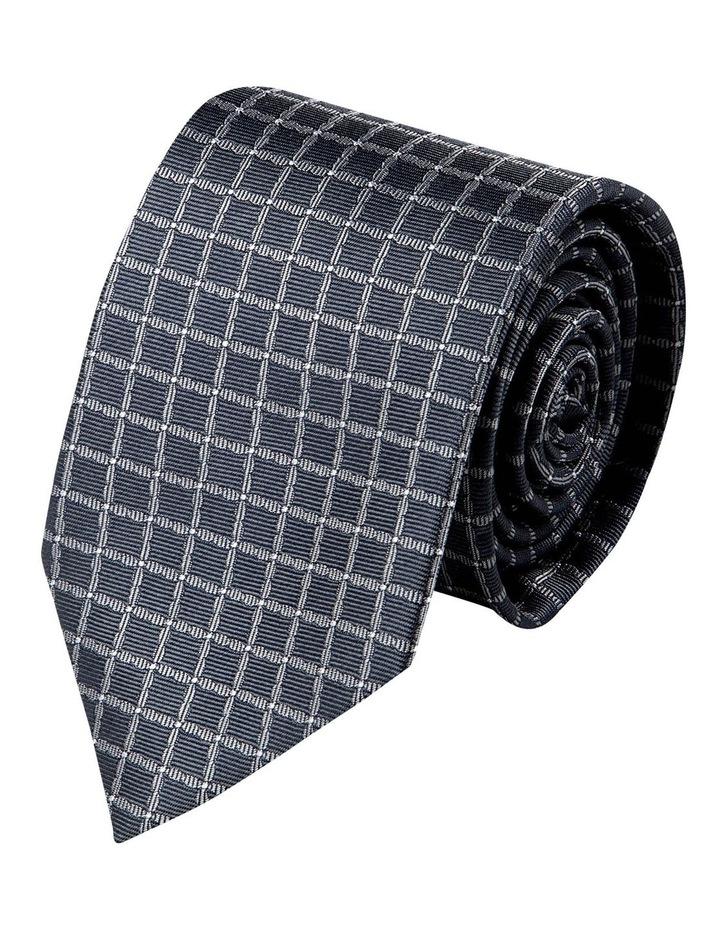 Mesh Spot Silk Tie-Charcoal image 1