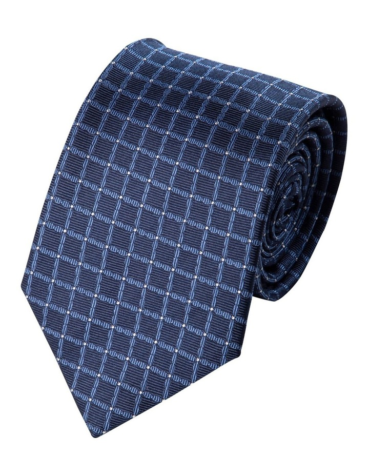 Mesh Spot Silk Tie-Navy image 1