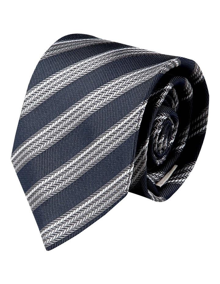 Herringbone Stripe Silk Tie-Grey image 1