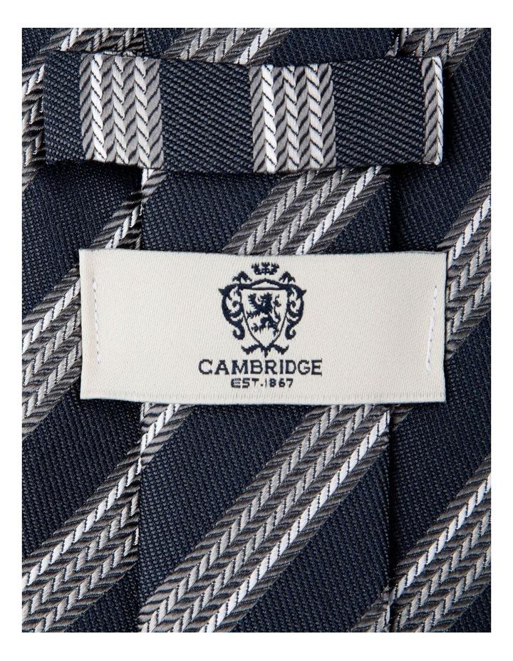 Herringbone Stripe Silk Tie-Grey image 2