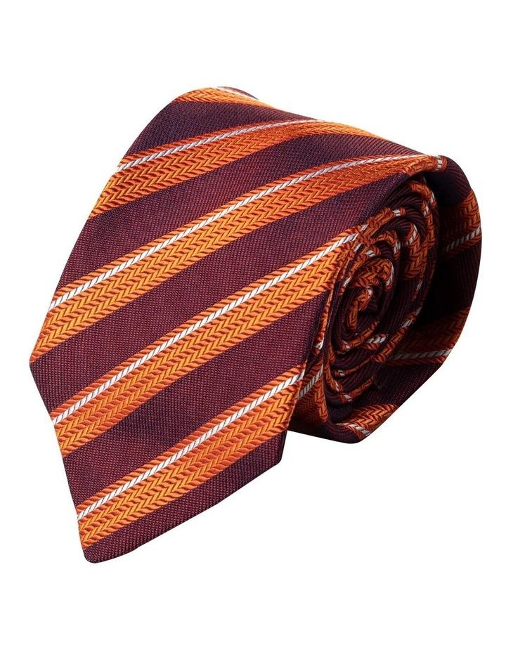 Herringbone Stripe Silk Tie-Orange image 1