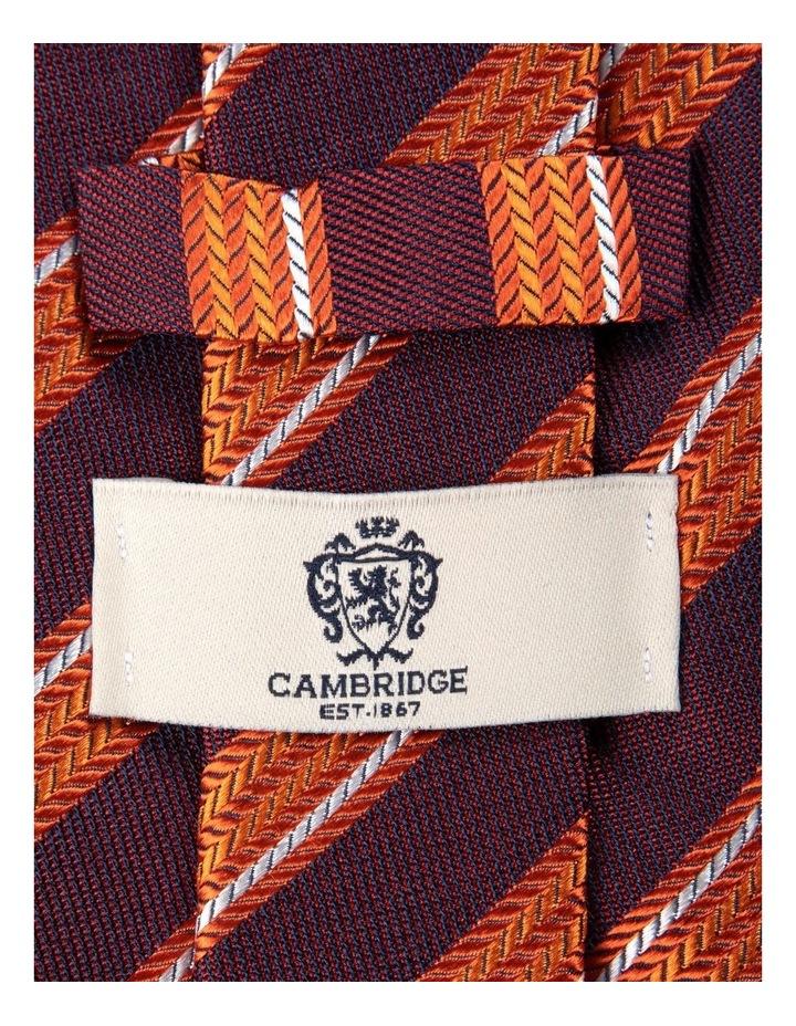 Herringbone Stripe Silk Tie-Orange image 2