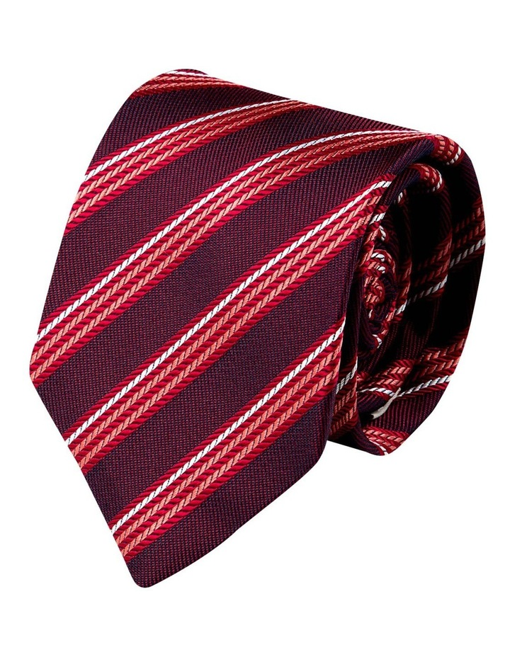 Herringbone Stripe Silk Tie-Red image 1