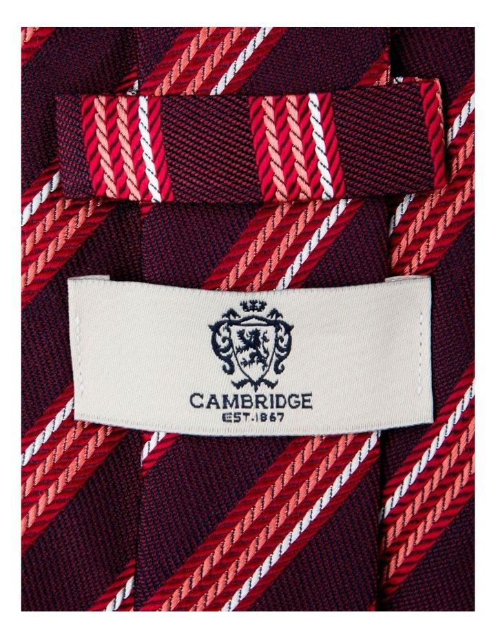 Herringbone Stripe Silk Tie-Red image 2