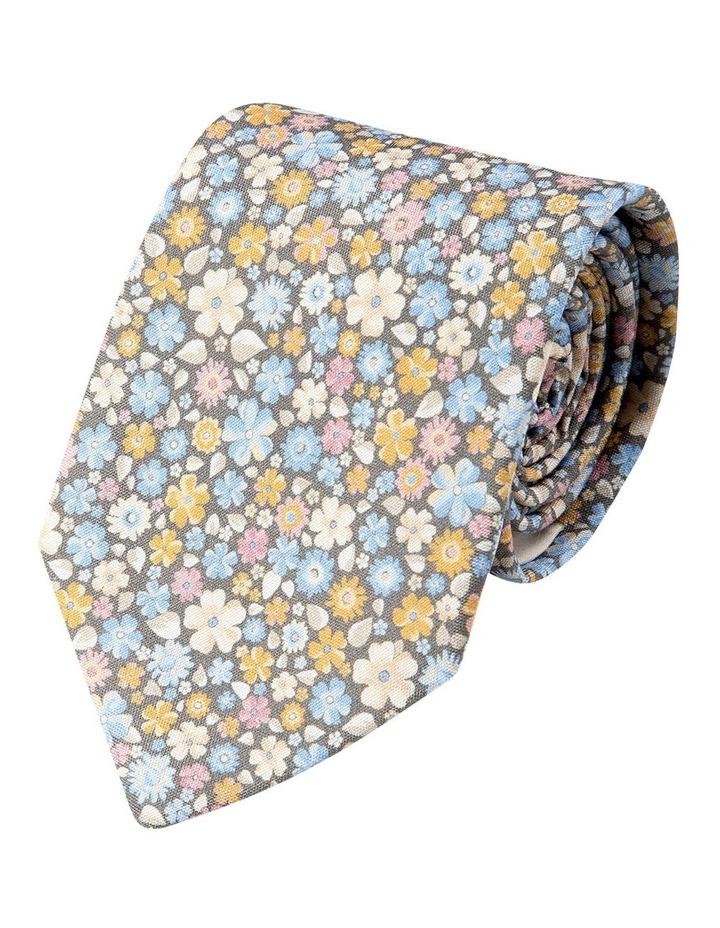 Micro Flora Silk Tie-Grey image 1