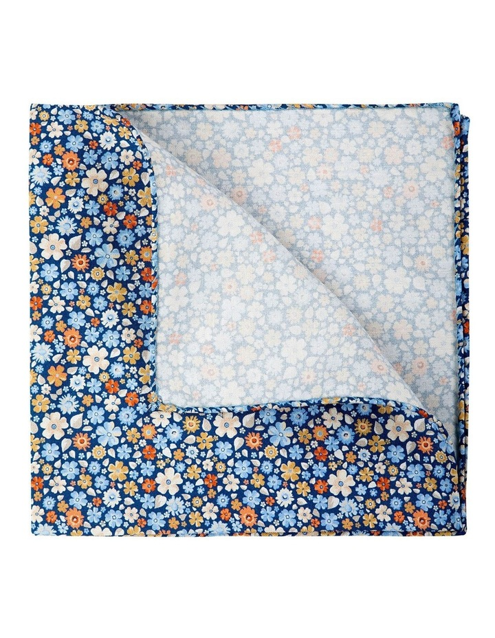Micro Flora Silk Pocket Square-Blue image 2