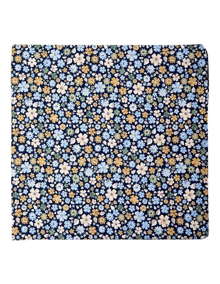 Micro Flora Silk Pocket Square-Navy image 1