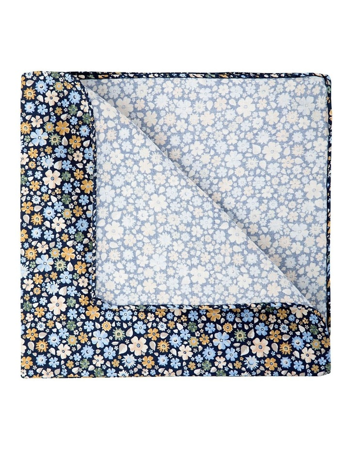 Micro Flora Silk Pocket Square-Navy image 2