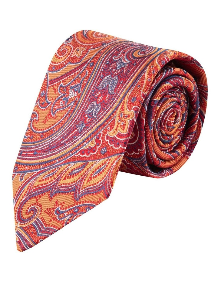Orange Flame Paisley 7.5cm Silk Tie image 1