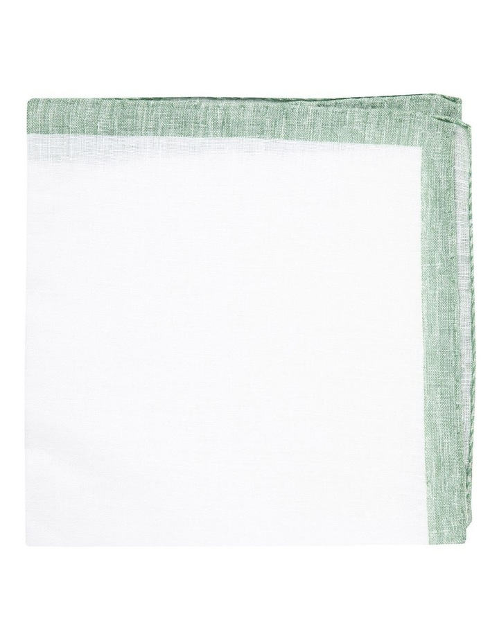 Sage Linen Edged Pocket Square image 1