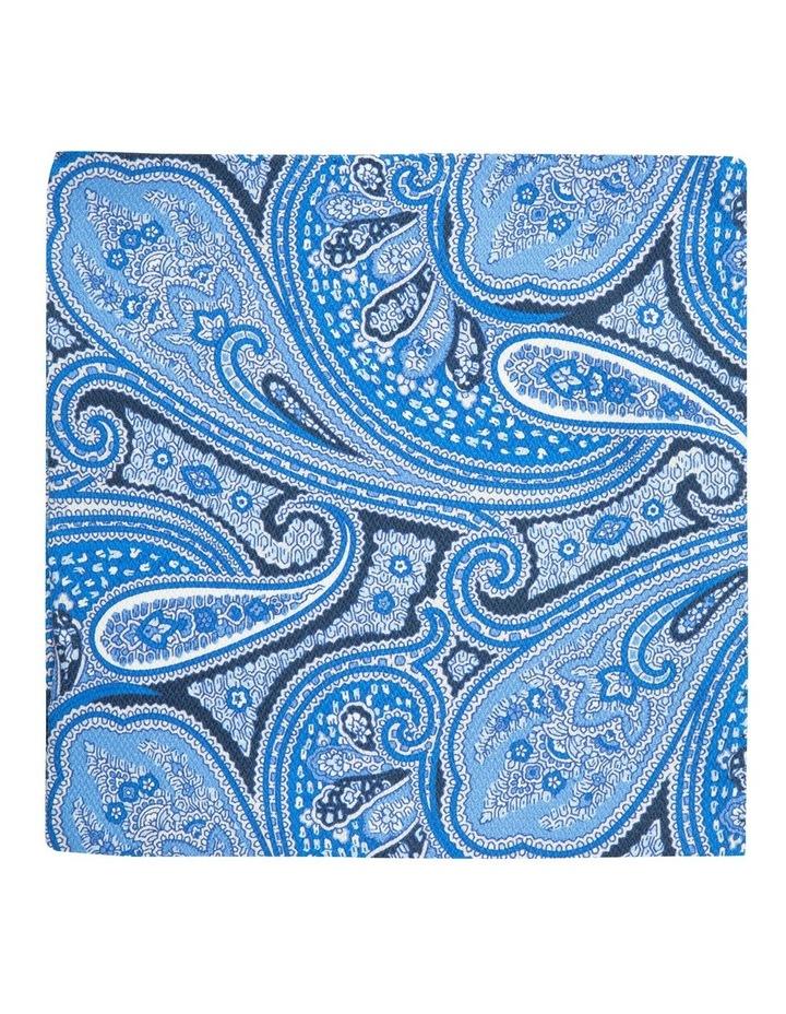 Blue Shappe Paisley Silk Pocket Square image 1