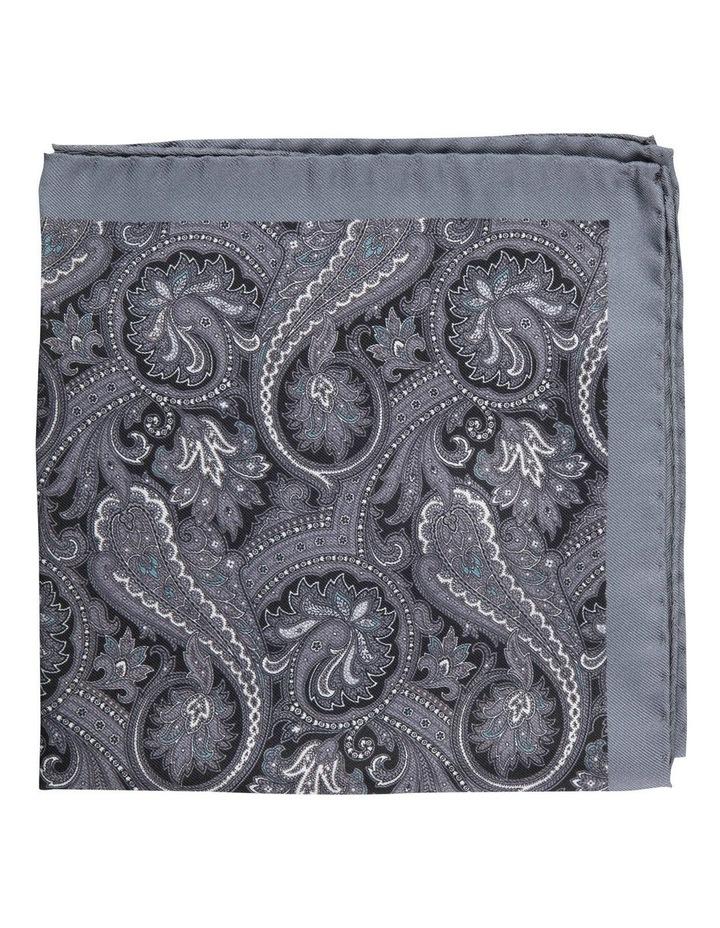 Grey Sharp Paisley Silk Pocket Square image 1
