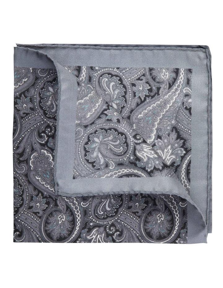 Grey Sharp Paisley Silk Pocket Square image 2