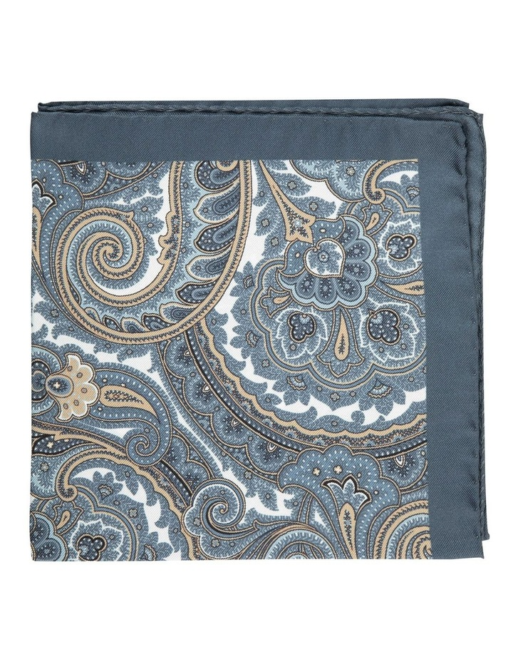Taupe Scroll Paisley Silk Pocket Square image 1