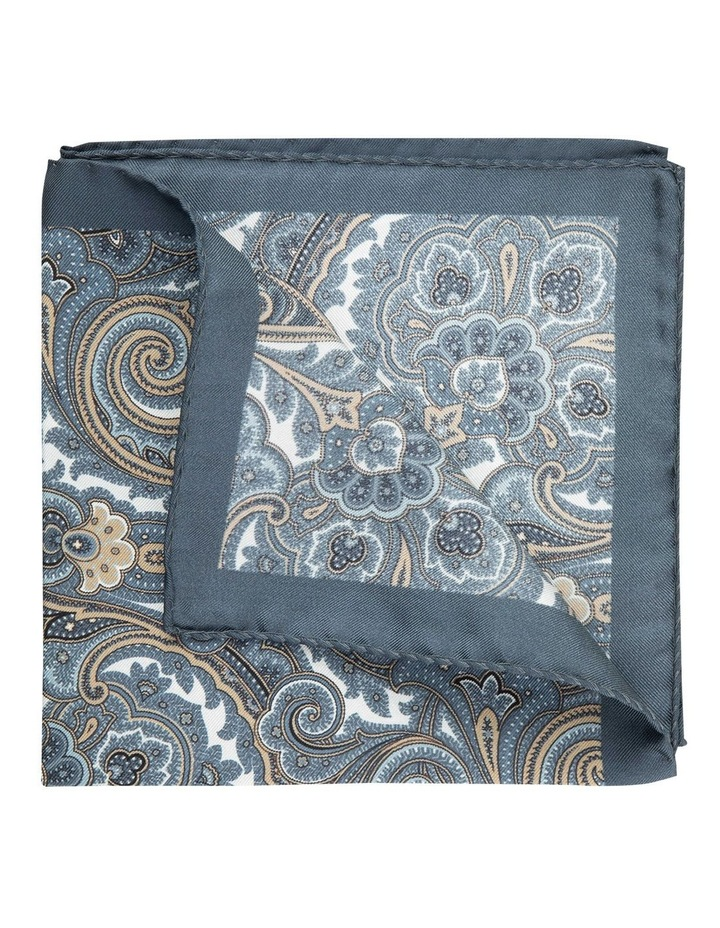 Taupe Scroll Paisley Silk Pocket Square image 2