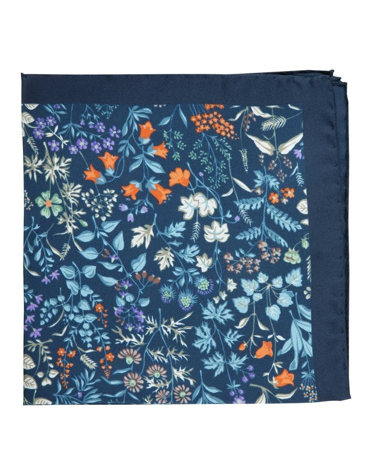 Navy Botanica Silk Pocket Square image 1