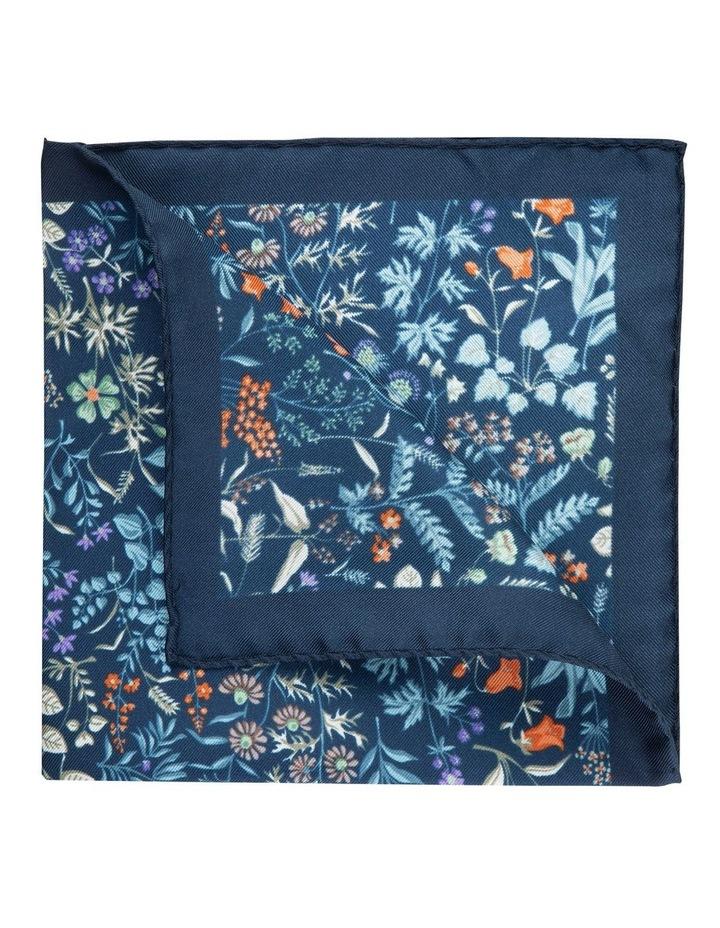Navy Botanica Silk Pocket Square image 2