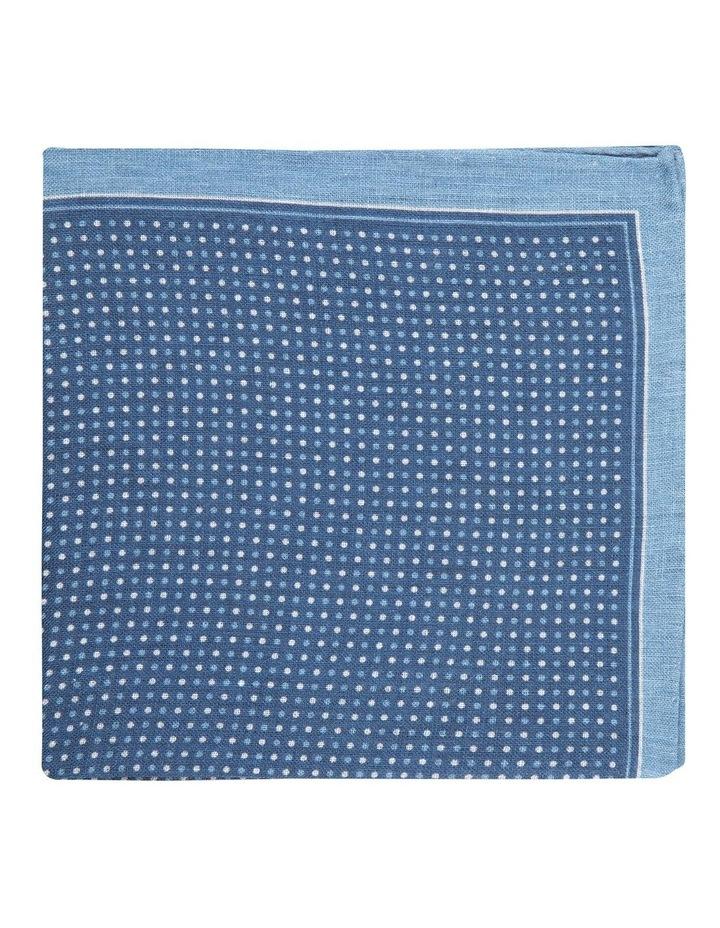 Navy Linen Polkadot Pocket Square image 1