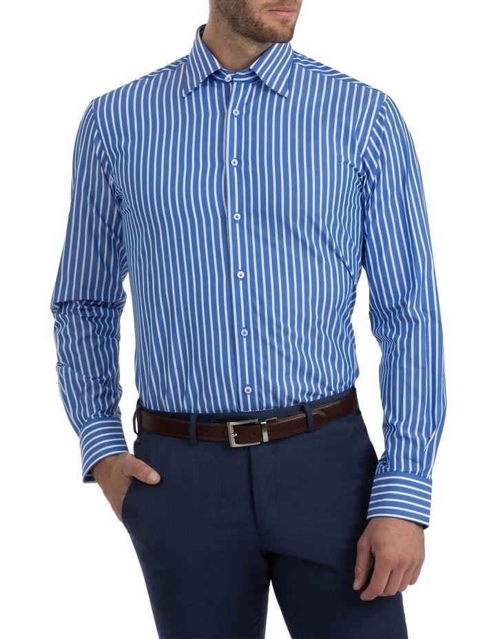 Modern Fit Brighton Mid Blue Stripe Business Shirt FCM310 image 1