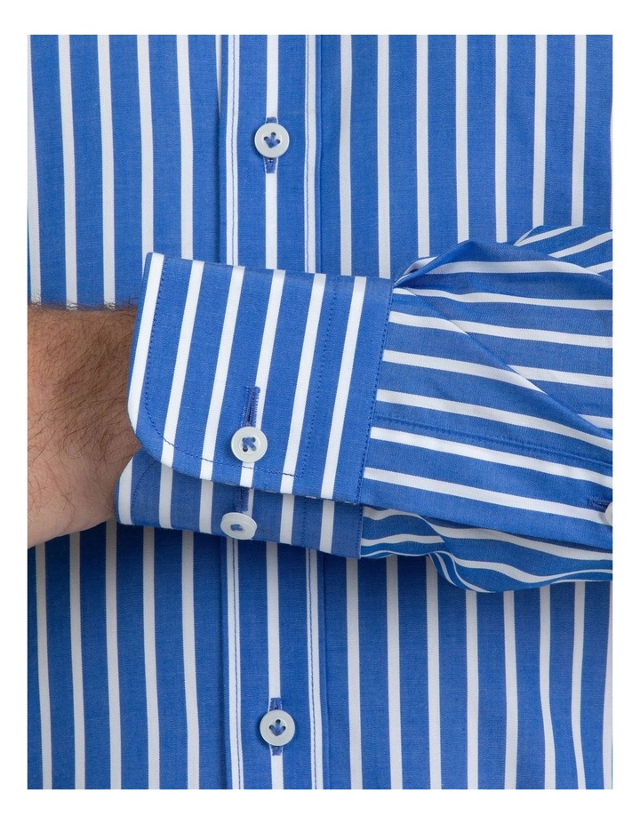 Modern Fit Brighton Mid Blue Stripe Business Shirt FCM310 image 4