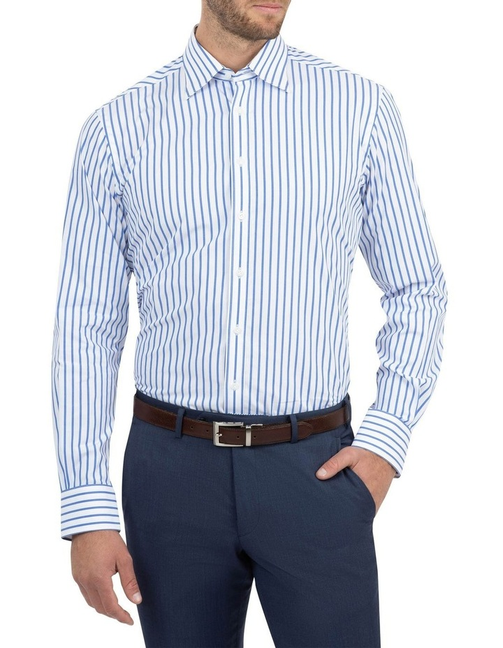 Modern Fit Brighton Mid Blue Stripe Business Shirt FCM312 image 1