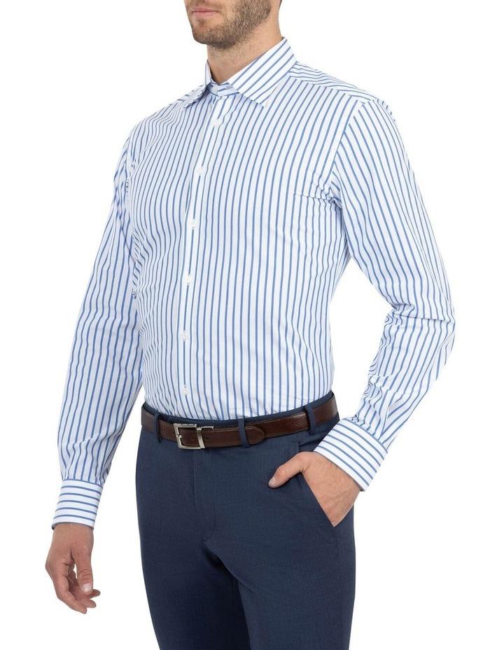 Modern Fit Brighton Mid Blue Stripe Business Shirt FCM312 image 2