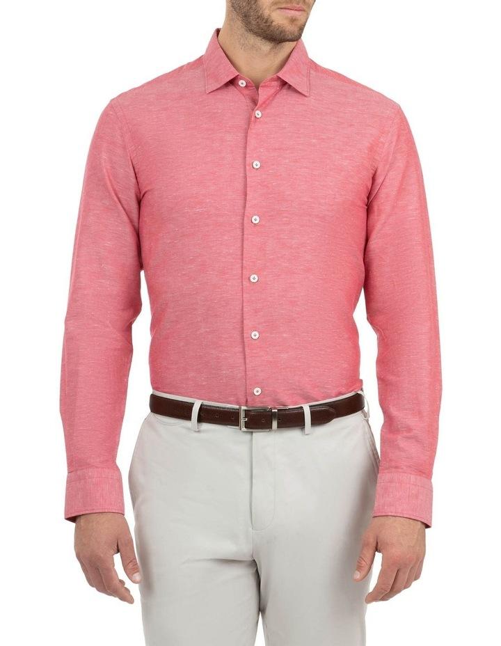 Modern Fit Aspendale Red Cotton/Linen Shirt image 1