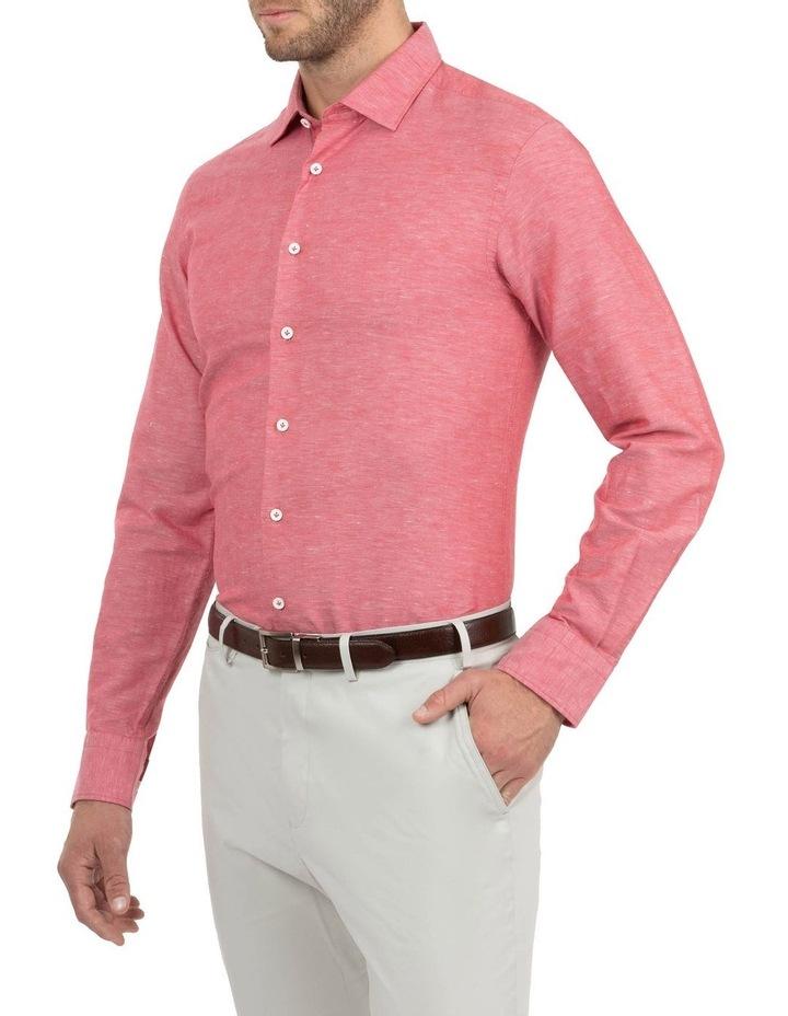 Modern Fit Aspendale Red Cotton/Linen Shirt image 2