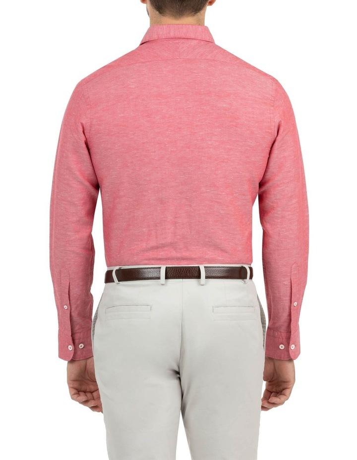 Modern Fit Aspendale Red Cotton/Linen Shirt image 3