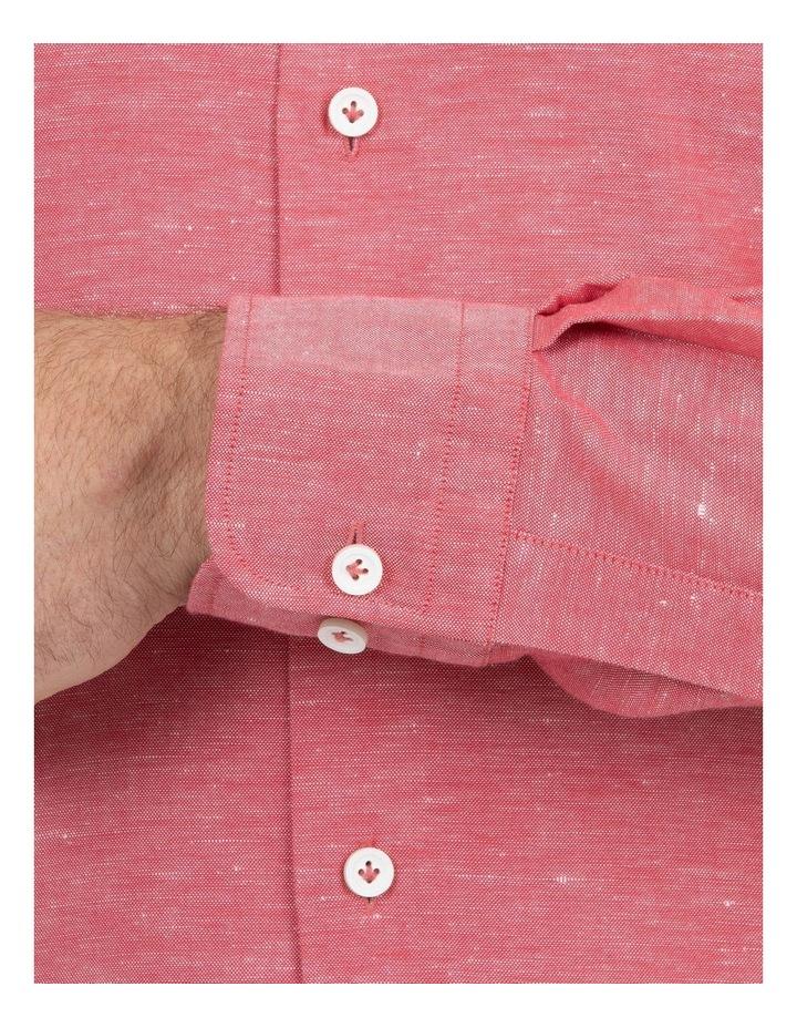 Modern Fit Aspendale Red Cotton/Linen Shirt image 4