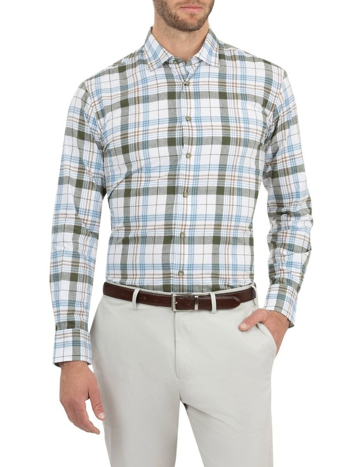 Modern Fit Aspendale Khaki Cotton/Linen Check Shirt image 1