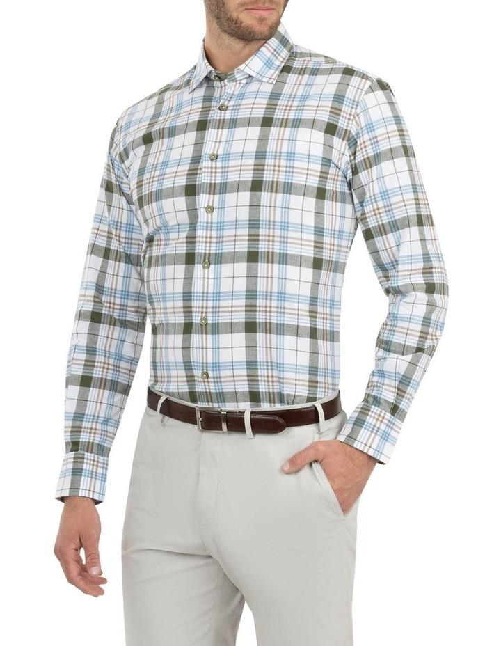 Modern Fit Aspendale Khaki Cotton/Linen Check Shirt image 2