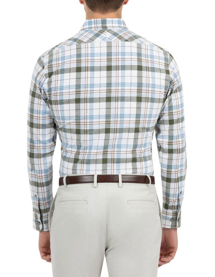 Modern Fit Aspendale Khaki Cotton/Linen Check Shirt image 3