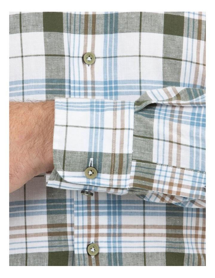 Modern Fit Aspendale Khaki Cotton/Linen Check Shirt image 4