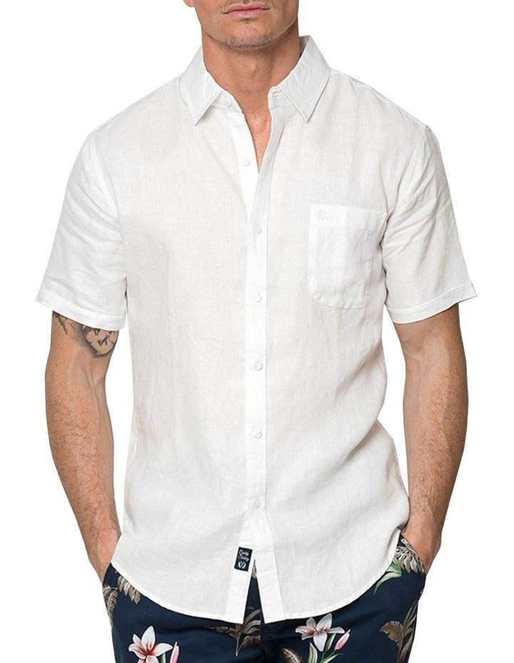 White Short Sleeve Linen Shirt image 1
