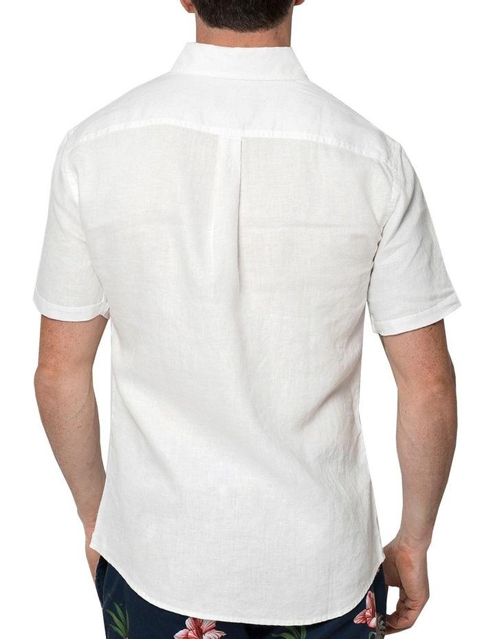White Short Sleeve Linen Shirt image 2