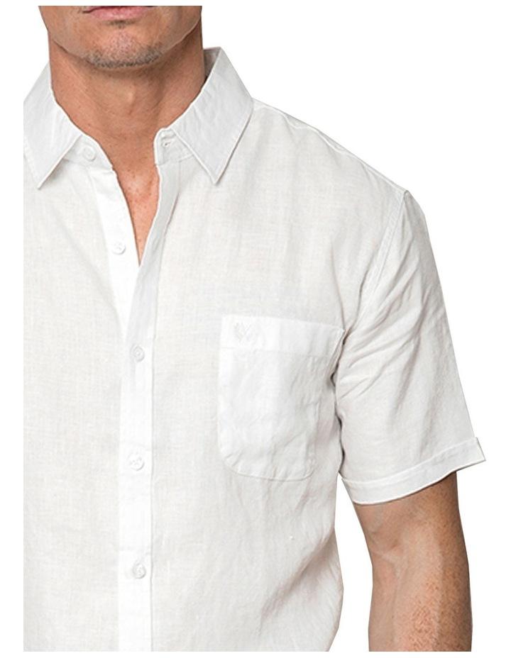 White Short Sleeve Linen Shirt image 3