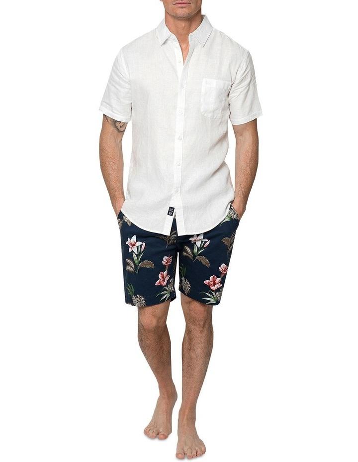 White Short Sleeve Linen Shirt image 4