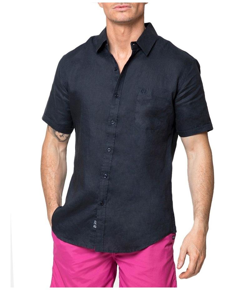 Navy Short Sleeve Linen Shirt image 1