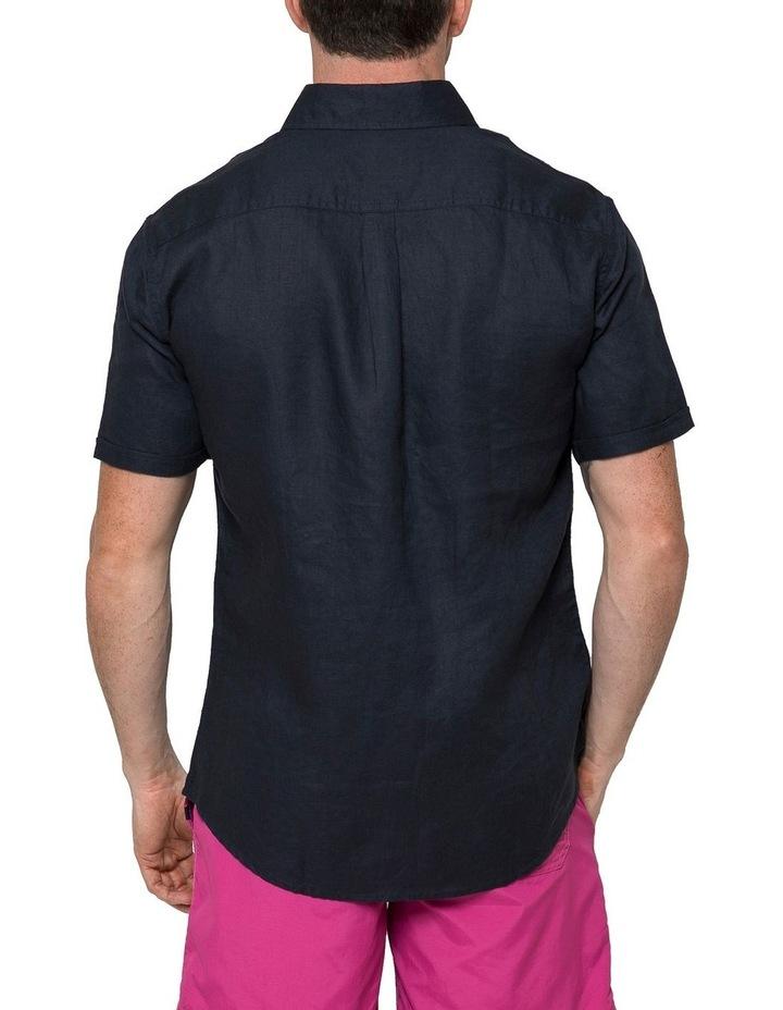 Navy Short Sleeve Linen Shirt image 2