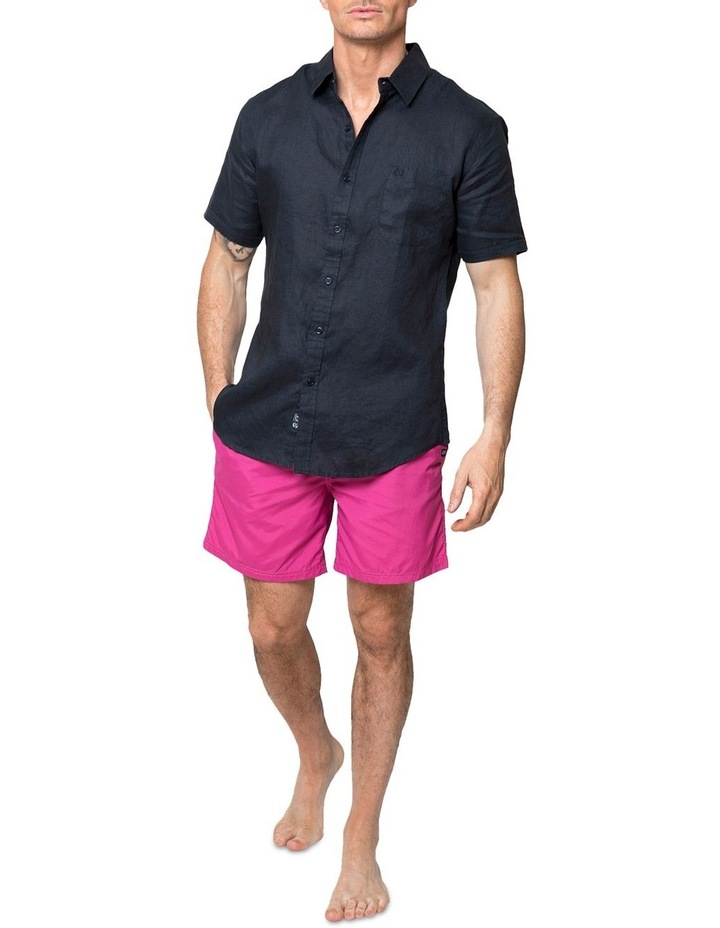 Navy Short Sleeve Linen Shirt image 3