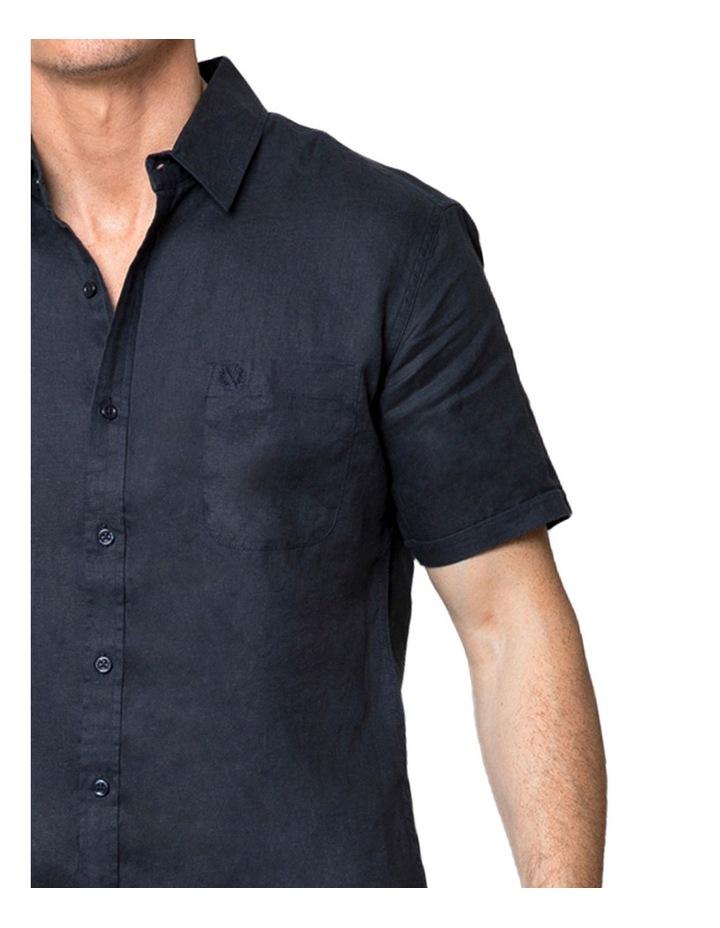 Navy Short Sleeve Linen Shirt image 4