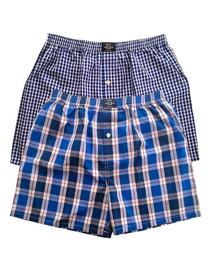 Two Pack Woven Blue Boxers image 1