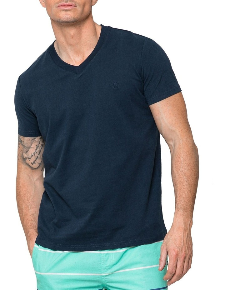 Essential V Neck Tee In Navy image 1