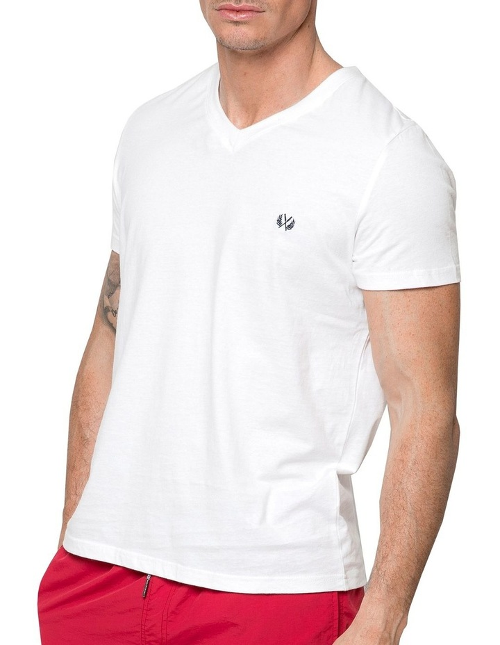 Essential V Neck Tee In White image 1