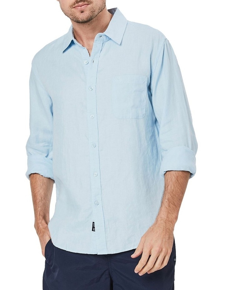 Long Sleeve Linen Shirt in Blue image 1