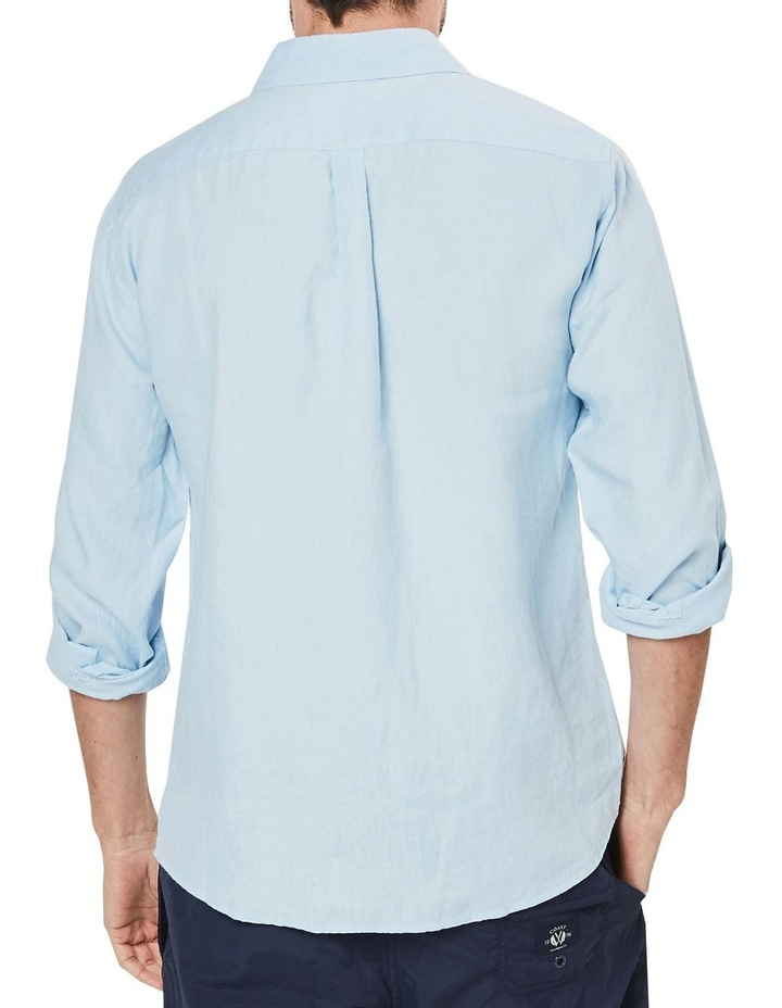 Long Sleeve Linen Shirt in Blue image 2