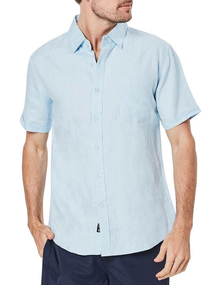 Short Sleeve Linen Shirt in Blue image 1