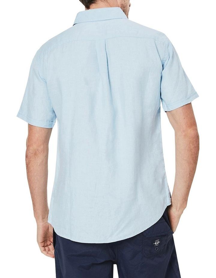 Short Sleeve Linen Shirt in Blue image 2